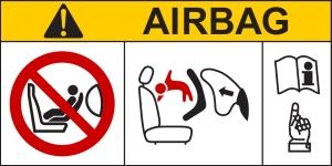 Напоминание об отключении подушки безопасности при перевозке детей на переднем сидении